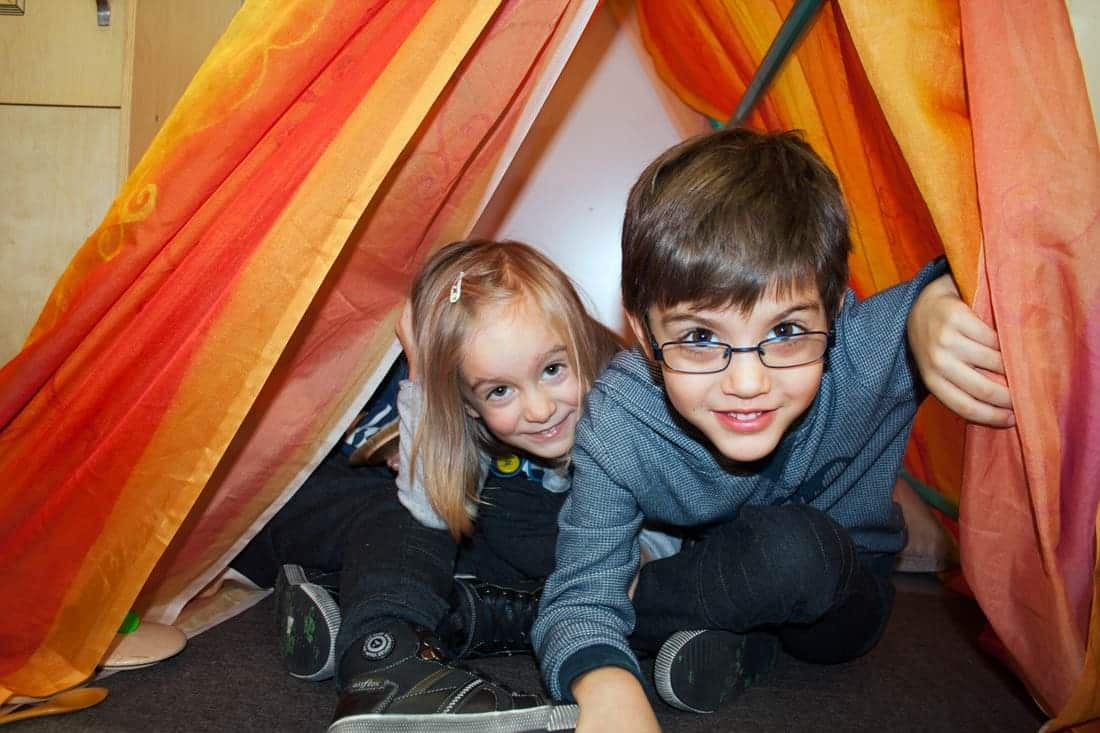 Kids Playing In A Colourful Tent In The J.S Grey Kindergarten Classroom. Website And Photography By Birdhouse Digital.