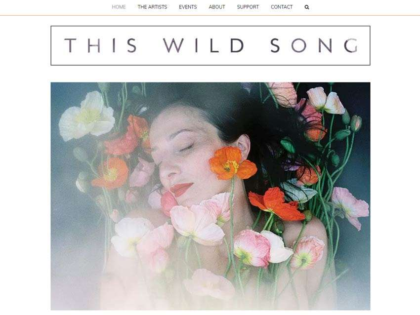 This Wild Song Website Home Page On Desktop. Design And Wordpress Website Build By Birdhouse Digital