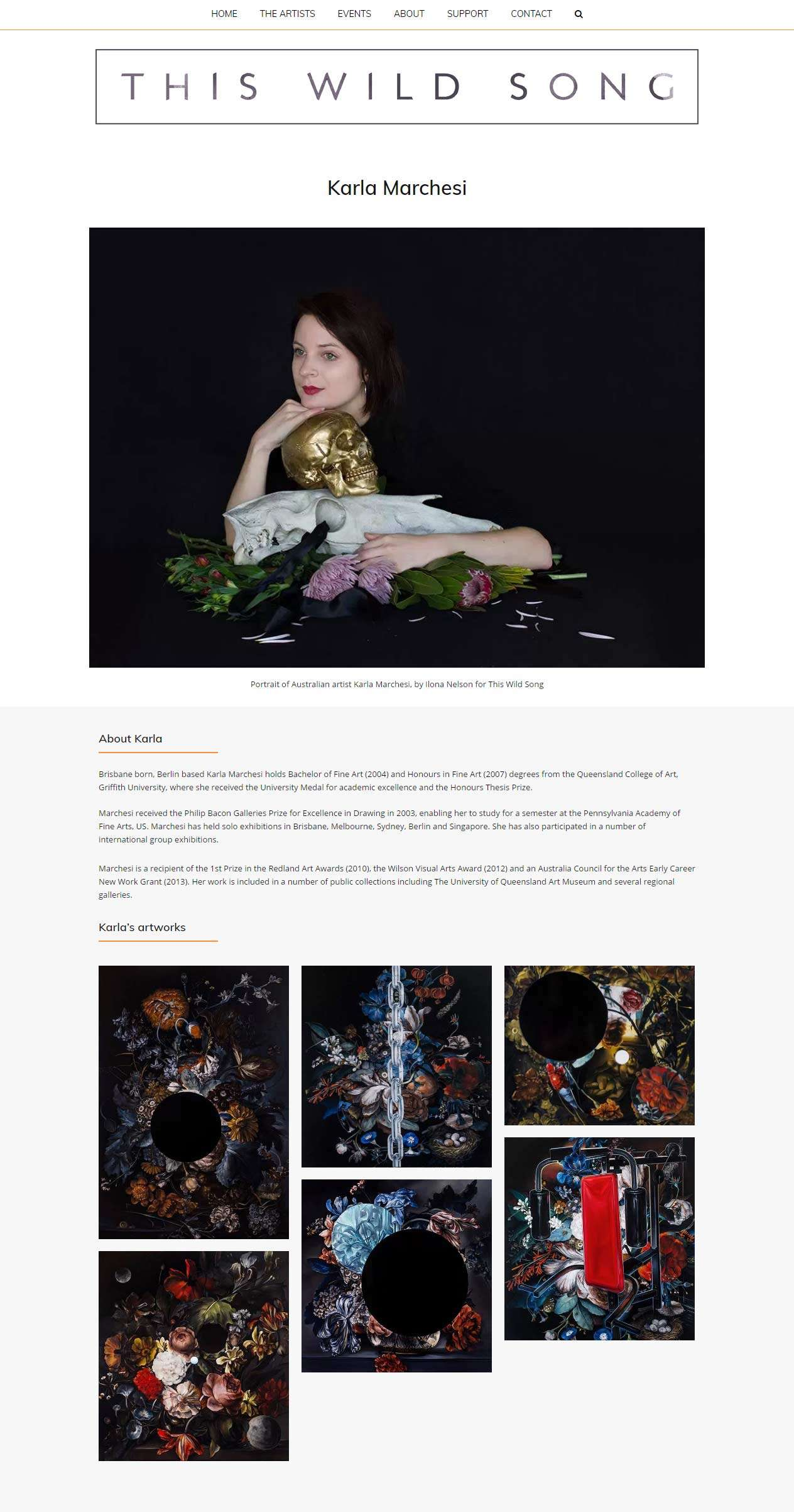 This Wild Song Website Page For Artist Karla Marchesi. Design And Wordpress Website Build By Birdhouse Digital
