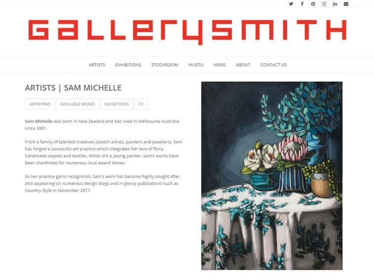 Gallerysmith Website, Individual Artist's Page On Desktop. Design And Wordpress Build By Birdhouse Digital
