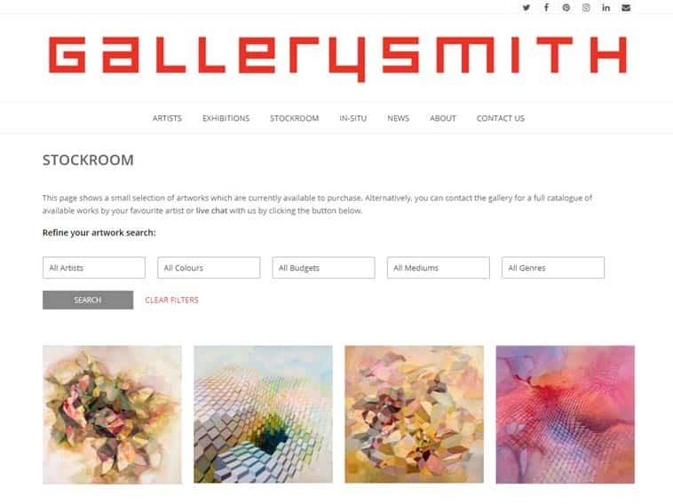 Gallerysmith Website, Stockroom Page On Desktop. Design And Wordpress Build By Birdhouse Digital