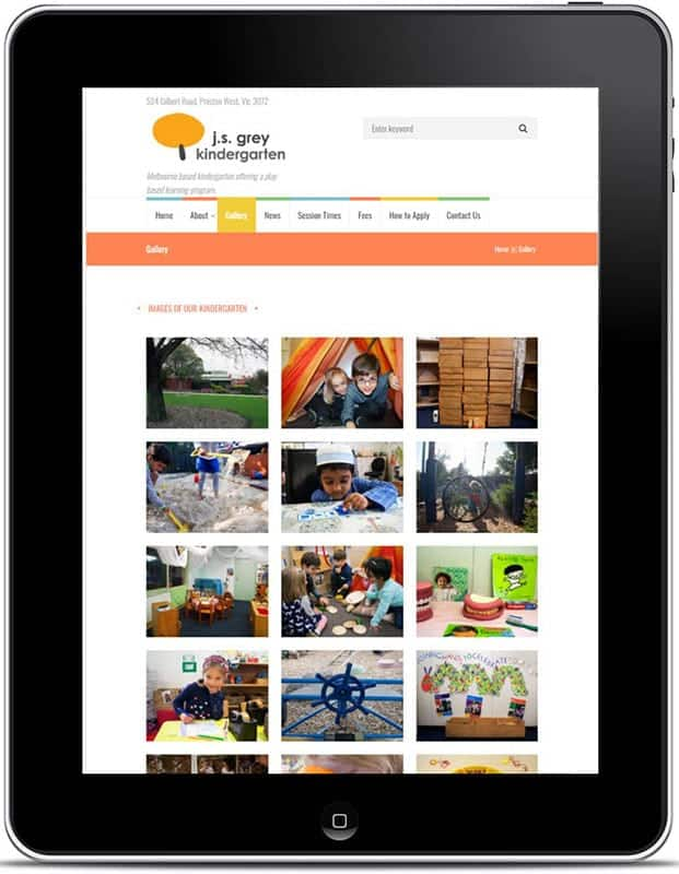J.S Grey Kindergarten Website, Design And Wordpress Website Build By Birdhouse Digital.