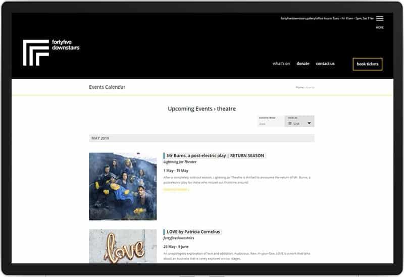 Fortyfivedownstairs Website, Design And Wordpress Build By Birdhouse Digital