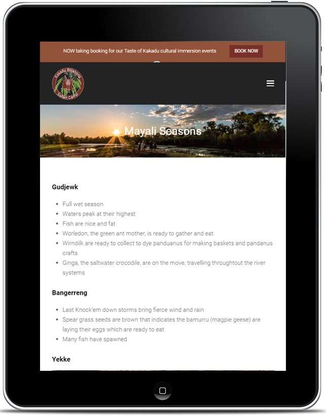 Kakadu Billabong Safari Camp Website, Design And Wordpress Build By Birdhouse Digital