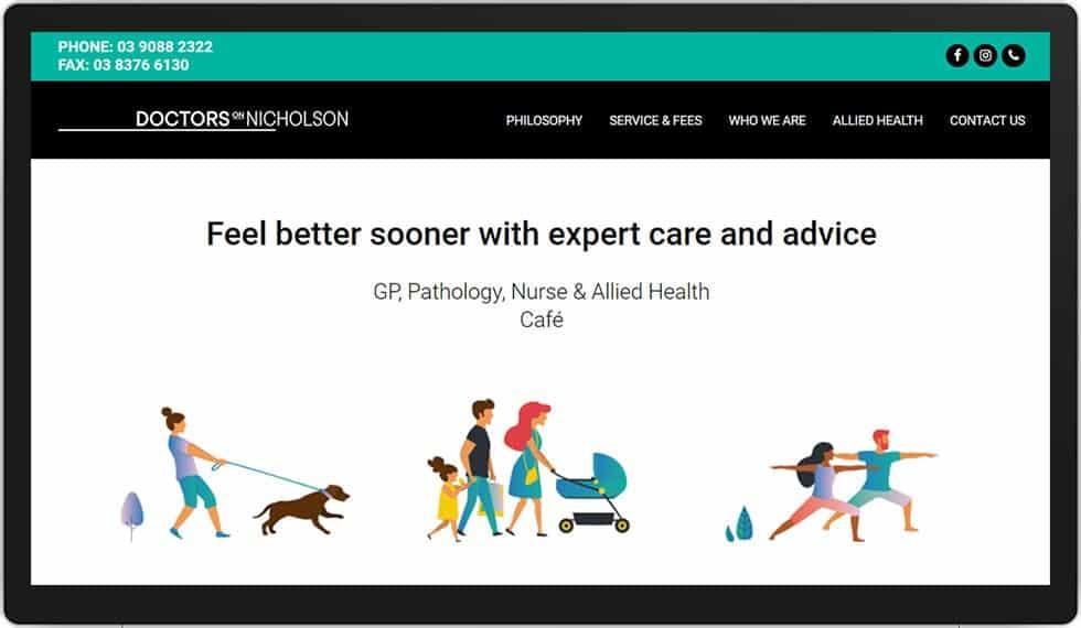Doctors On Nicholson Website Homepage On A Desktop