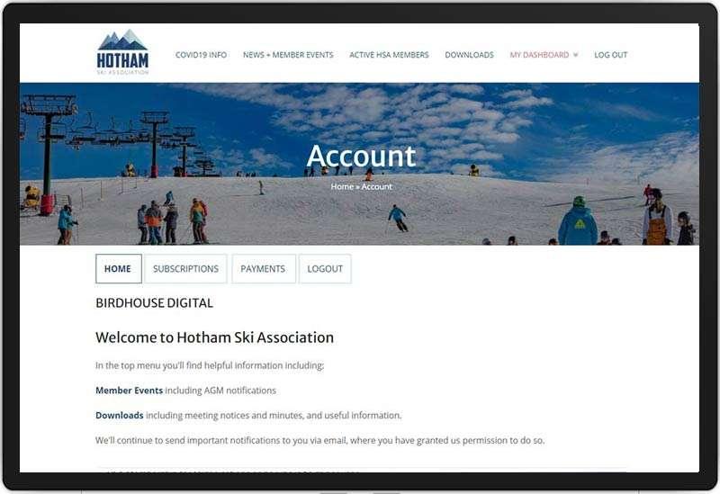 Hotham Ski Association Account Page