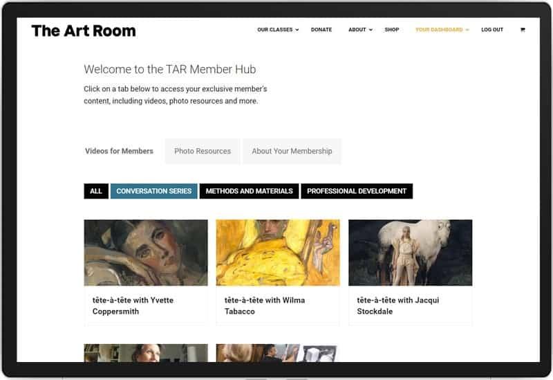 The Art Room Membership Hub: Screenshot