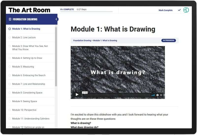The Art Room Online Course: Screenshot
